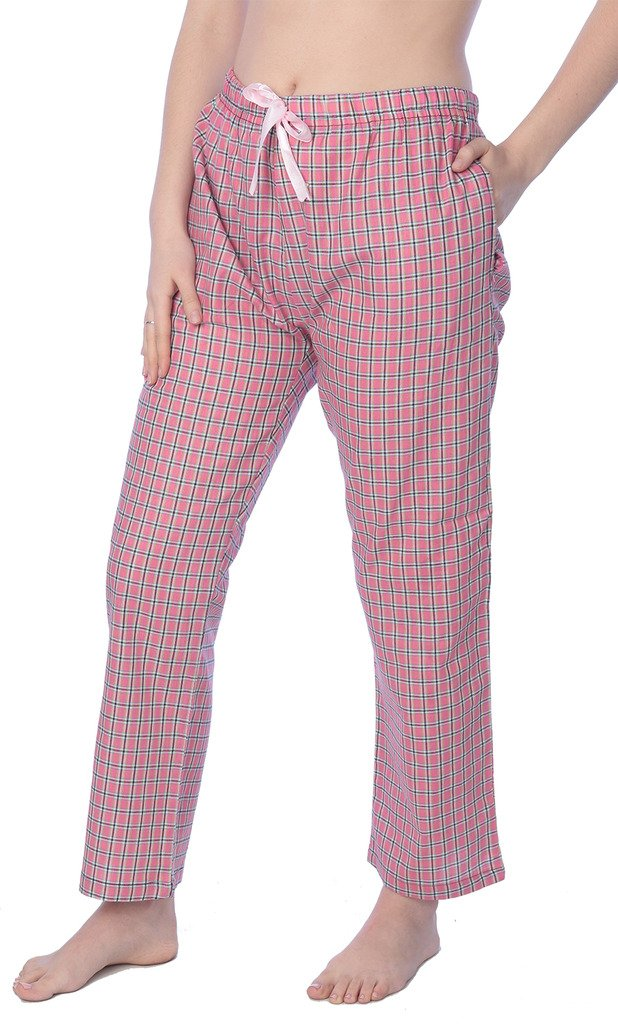 Beverly Rock Women's Cotton Blend Plaid Woven Lounge PantsAvailable in Plus Size WLL01_18 Green 4X
