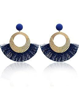 Paolian Femmes Cercle Bordées Boucles d'oreilles Boho Bijoux de mode (Bleu)