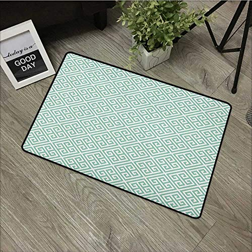 Interior mat W35 x L47 INCH Greek Key,Pastel Green and White Symmetrical Motifs Inspired by Grecian Culture, Pistachio Green White Our bottom is non-slip and will not let the baby -