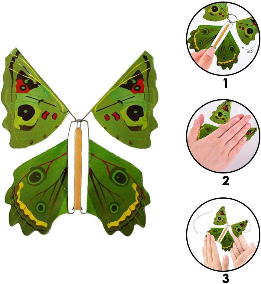 6 PCS Flying Butterfly Kinder Magic Prop Toy Magic Book Schmetterlingsgummiband Powered Wind Up Butterfly Toy Gro/ße /Überraschung Geschenk zuf/ällige Farbe