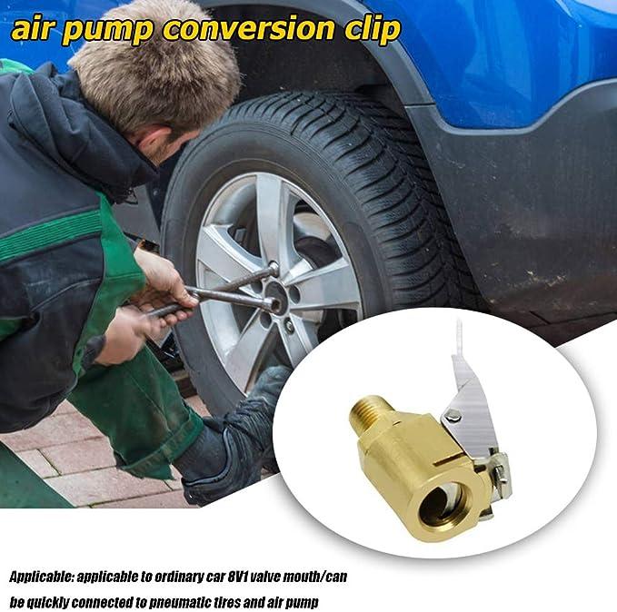 Yizhet 4 PCS Tire Air Chucks 8 mm Brass Open End Tyre Valve Air Pump Clip,Car Air Pump Thread Nozzle Adapter Car Pump Accessories Tyre Tire Inflator Valve Connector for Car Truck