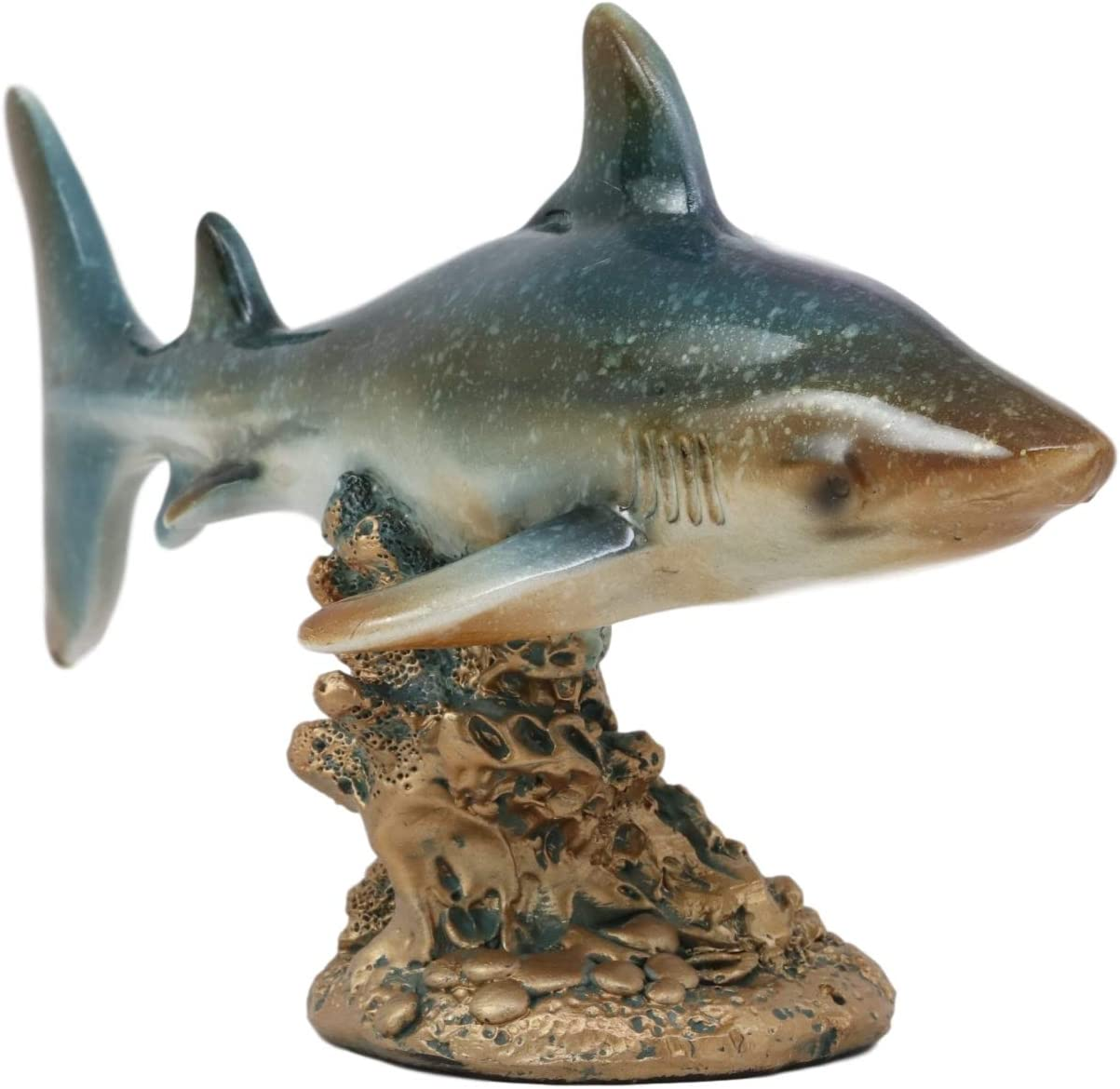 "Ebros Gift 7"" Long Ocean Marine Beach Coastal Predator Great White Shark Swimming Over Coral Reefs Statue Deep Blue Sea Apex Hunter Sharks Fish Figurine Home Decor"