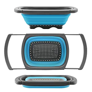 Qimh Colander Collapsible, Colander Strainer Over the Sink Food Colanders Strainers with Extendable Handles, 6-Quart, Dishwasher-Safe Kitchen Folding Strainer for Pasta, Veggies and Fruits (Blue)
