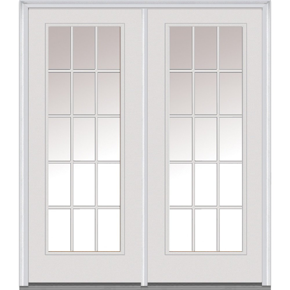 National Door Company Z001644R Steel, Primed, Right Hand In-Swing, Center Hinged Patio Door, Clear Glass Internal Grilles, 64''x80''