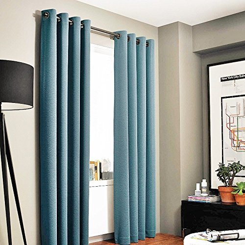 Gorgeous Home (#72) 1 PANEL TEAL BLUE 84″ LENGTH THERMAL FOAM LINED BLACKOUT HEAVY THICK WINDOW CURTAIN DRAPES BRONZE GROMMETS