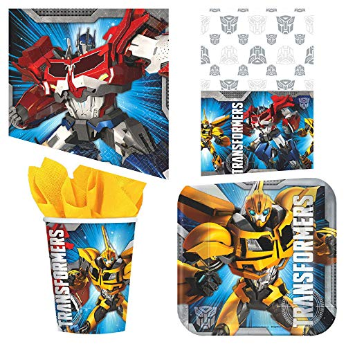 Transformers Birthday Party Supplies Bundle Pack for 16 Guests (Basic) (Transformers Ounce Cups 9)