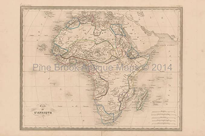 Map Of Africa 1850.Amazon Com Africa Antique Map Malte Brun 1850 Original African