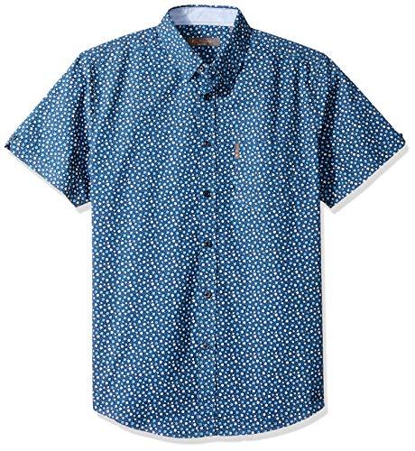 Ben Sherman Men's SS Ditsy FLRL PRNT Shirt, Navy Blazer, XL