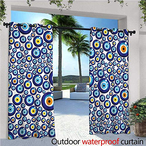 - cobeDecor Evil Eye Outdoor Blackout Curtains Traditional Turkish Charm Luck Sign Pattern Vivid Bead Figures Graphic Outdoor Privacy Porch Curtains W120 x L108 Blue Orange Yellow