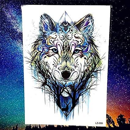 HXMAN 5 Unids Rugido Lobo Luna Vello Bosque Temporal Tatuaje ...