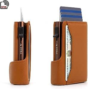Slim Wallet for man genuine leather with RFID protection | Twist Metal Case Popup Credit card holder Pocket | Brown | UAE Logo