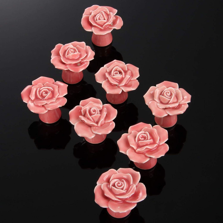 Pink 8PCS Modern Keramik Rose Form Schublade Schrank Kleiderschrank T/ürgriff T/ürkn/öpfe T/ürknauf