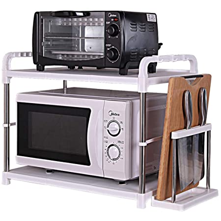 Cocina Horno de microondas Estante Acero inoxidable Gancho ...