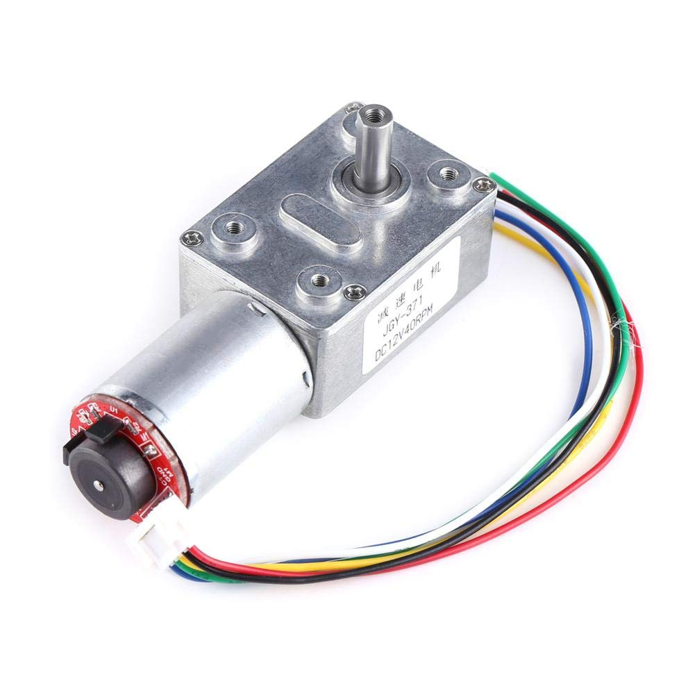 12v Dc Motor, DC 12V High Torque Worm Geared Motor Reduction Motor with Encoder Srong Self-locking(10RPM) Hilitand
