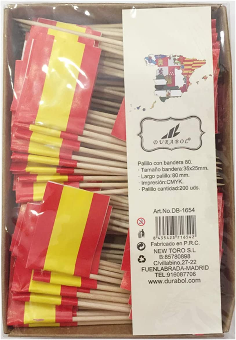 Compra new toro Palillos de Tapas con Bandera, 200 Unidades Toothpick Flags Etiquetas Pequeñas para Magdalenas Decorar Tartas Bocadillos Cumpleaños Boda Fiesta de Bienvenida 3.5 * 2.5cm (ESPAÑA SIN Escudo) en Amazon.es
