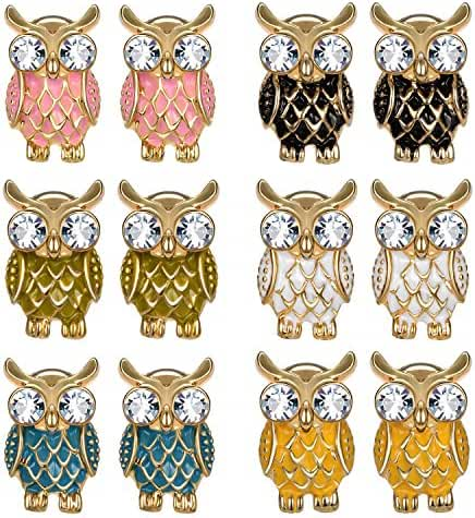 JewelrieShop 6 Pairs Assorted Colors Owl NightHawk Earrings Cute Enamel Paint Stud Earrings