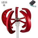 Happybuy Wind Turbine 200W 12V Wind Turbine Generator Red Lantern Vertical Wind Generator 5 Leaves Wind Turbine Kit with Controller No Pole (200W 12V, Red)