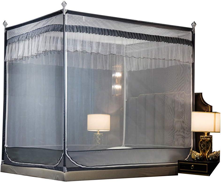 0217 Mosquitera Soporte plegable de acero inoxidable de tres puertas con cremallera para cama individual, doble, princesa, gris, 150 x 200c m: Amazon.es: Hogar