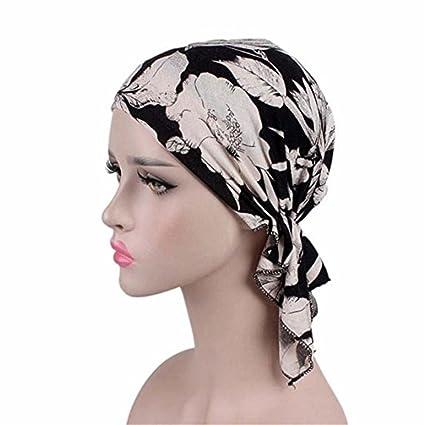 18b2973a416 Amazon.com  Wcysin Women Cotton Bandana Scarf Pre Tied Chemo Hat Beanie  Turban Headwear For Cancer Patients Ladies Turbante (Black flower)  Arts