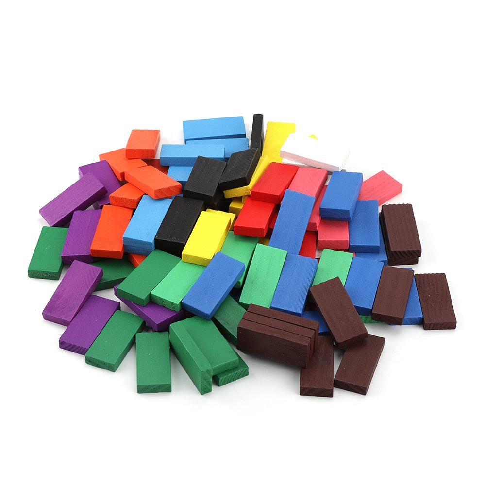 Zerodis 100Pcs Holz Domino Block Set Bunte Dominosteine P/ädagogische Spielzeug Geburtstag Geschenk f/ür Kinder Jungen M/ädchen