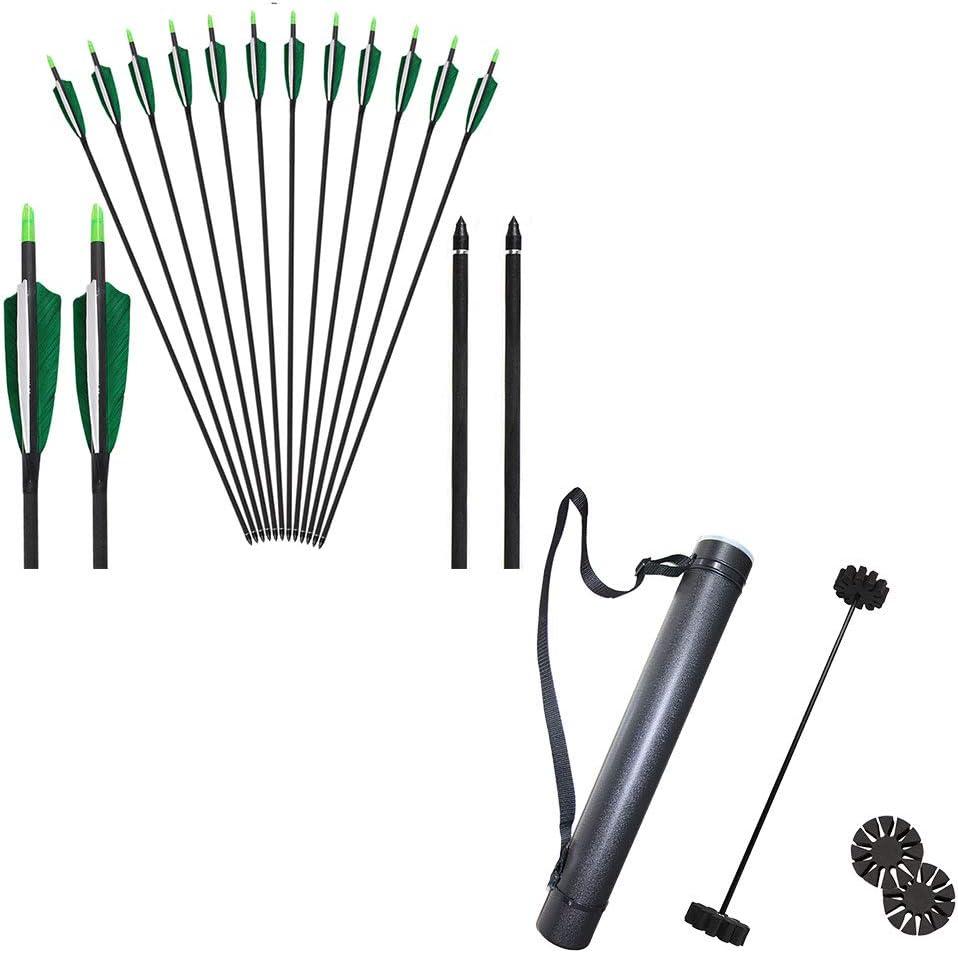 Huntingdoor Carbon Arrows and Archery Arrow Tubes,Pure Carbon Targeting Arrows Telescopic Arrow Holder Archery Back Quiver