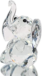 Waltz&F Crystal Elephant Figurines Collectibles Glass Animal Figurine for Table Home Decoration