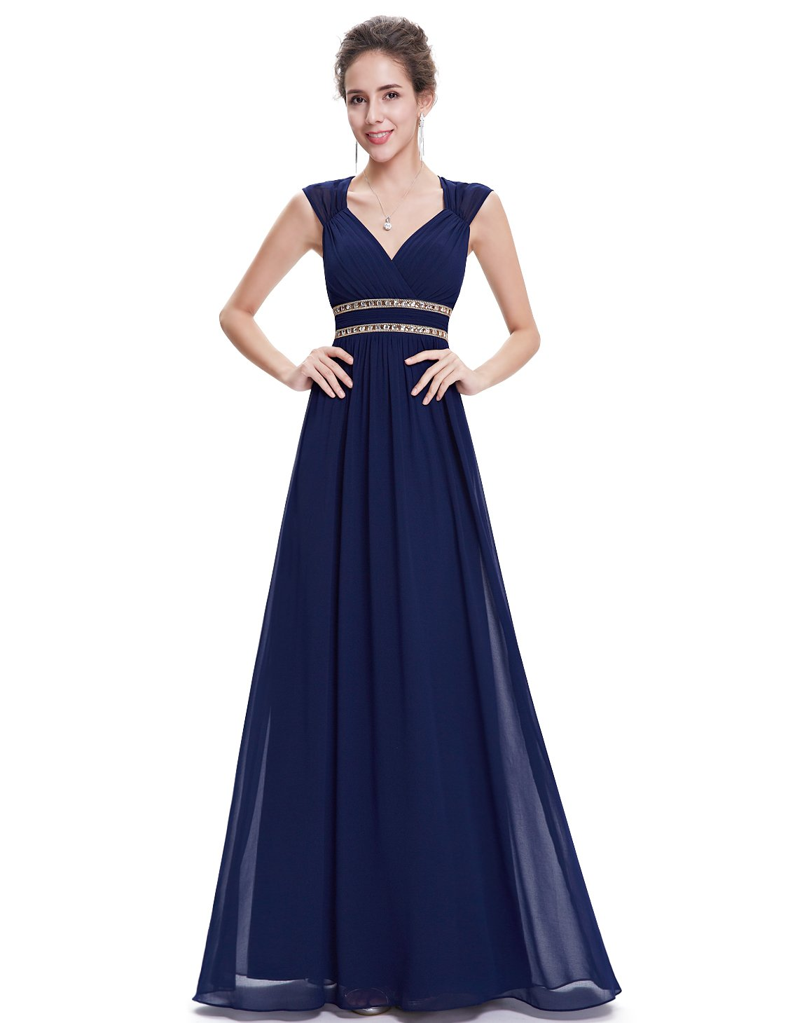 Ever-Pretty Womens Floor Length Beaded Grecian Style Military Ball Dress 6 US Navy Blue