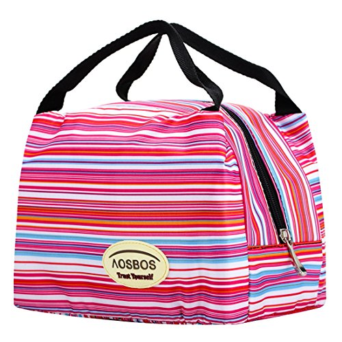 Aosbos Reusable Insulated Lunch Pinstripe