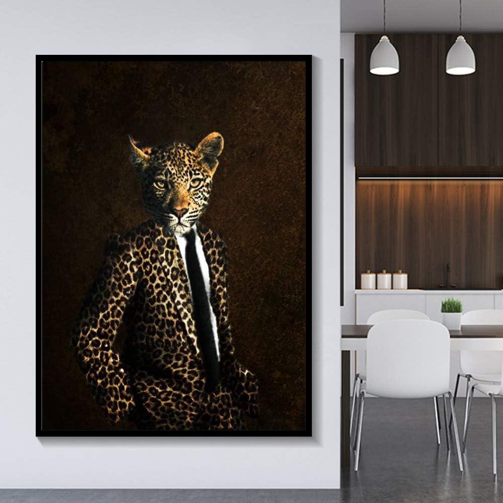 Pintura sin Marco Elegante Blanco y Negro león Tigre Elefante Jirafa Lobo Caballo Arte de la Pared póster y Animales sobre Lienzo ZGQ2694 50X70cm