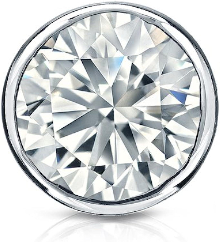 Screw-Back 1//8-1 ct, O. White, I2-I3 Platinumn Bezel-set Round Diamond Mens SINGLE STUD Earring