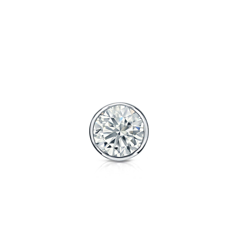 1//8 to 1cttw, H-I, I2-I3 Push-Back Diamond Wish Platinum Round Single Diamond Stud Earring Bezel-Set