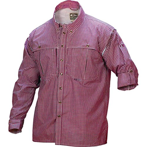 Drake Wingshooter Game Day Plaid Long Sleeve Shirt (Red) (Men's ()
