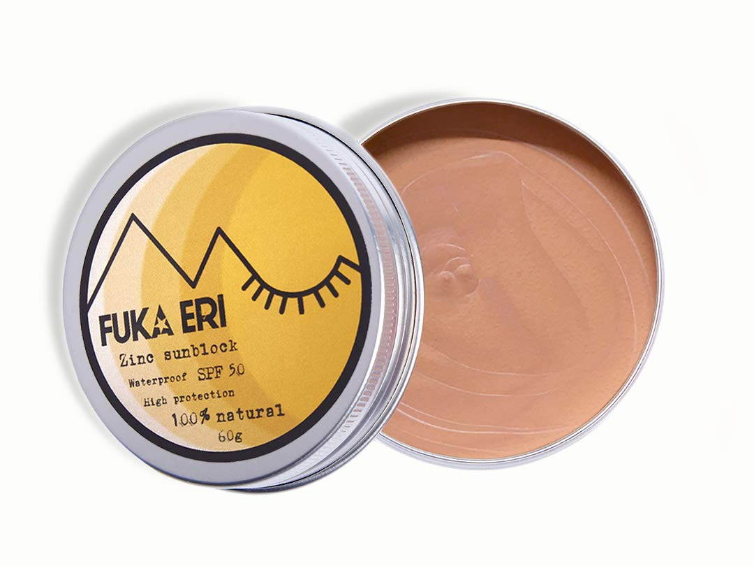 Fuka Eri mineral zinc sunblock, non-nano. Natural ingredients, 50 SPF. Vegan, waterproof and reefsafe. Face and body. Tinted sunscreen. Zerowaste. Improved formula, 60g