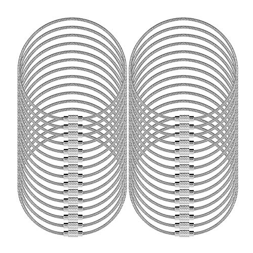 """LARRY SHELL 30 Pcs Wire Keychains 5.2"""" / 13cm Key Ring 2mm Cable Loops Stainless Steel Gear for Hanging Luggage Tag Key Rings and ID Tag Keepers - Silver"""