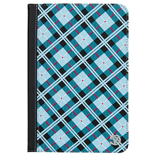 (VanGoddy Slim Blue Plaid Portfolio Case Suitable for Kobo Aura One Limited Edition, One, H2O, H2O Edition 2)