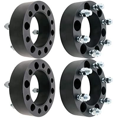 "DCVAMOUS 6 Lug Black 6x5.5 Wheel Spacers 2"" with 14x1.5 Studs for Chevy Suburban Silverado 1500 Tahoe, GMC Savana Yukon Sierra 1500(4PC, 50mm Thick): Automotive"