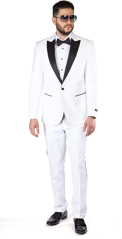 Slim Fit 1 Button Peak Satin Lapel Men's Tuxedo AZAR