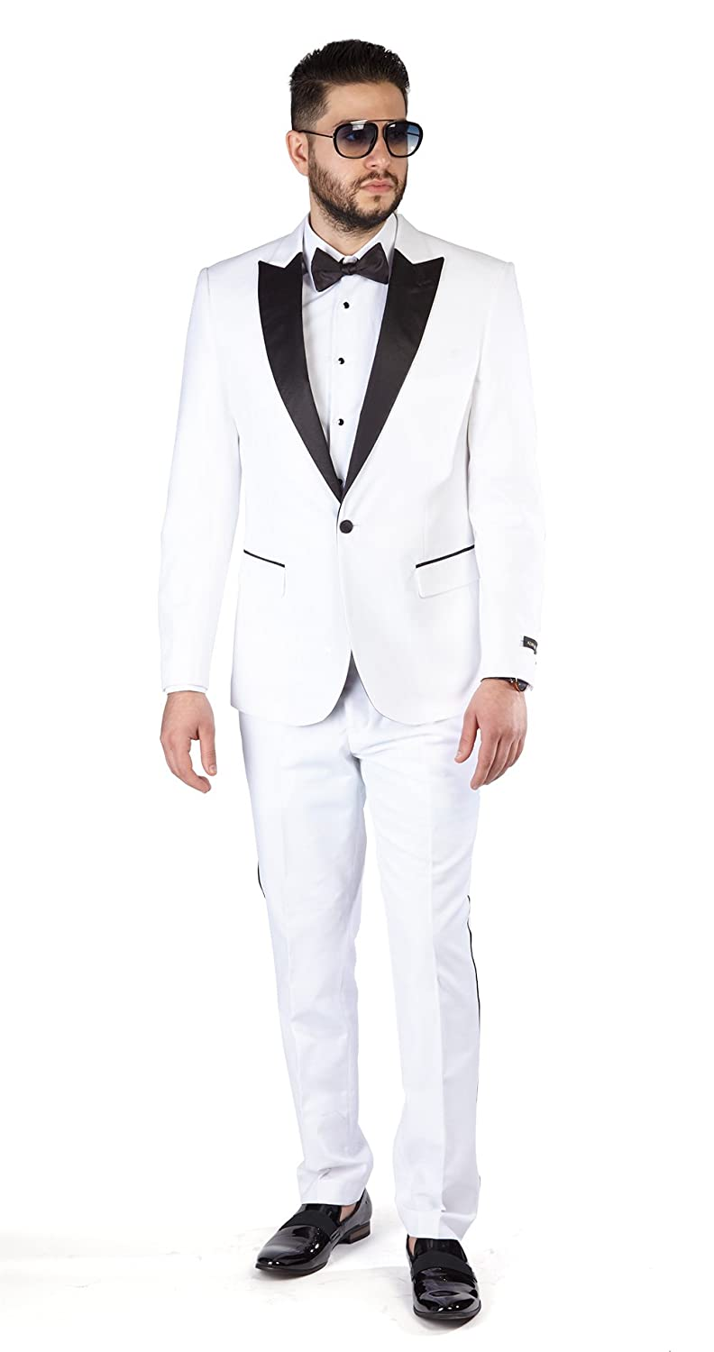 AZAR MAN Slim Fit 1 Button Peak Satin Lapel Men's Tuxedo
