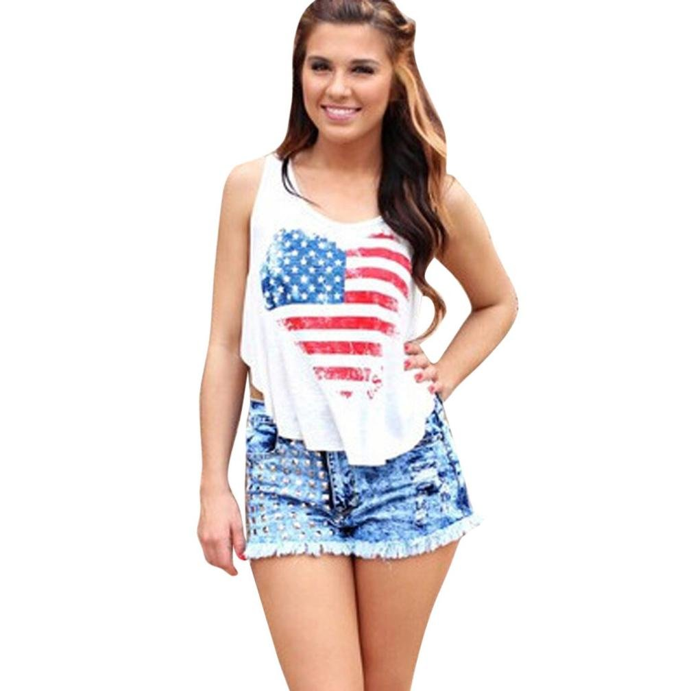 Duseedik Hot Sale!! Women tank tops,Promotion New Fasion Women Patriotic American Flag Print Lace Camisole Tank Top US Seller Sleeveless T Shirts Tops (White, L)