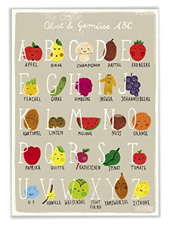 poster mit abc alphabet obst und gemüse für kinderzimmer und küche ... - Poster Für Die Küche