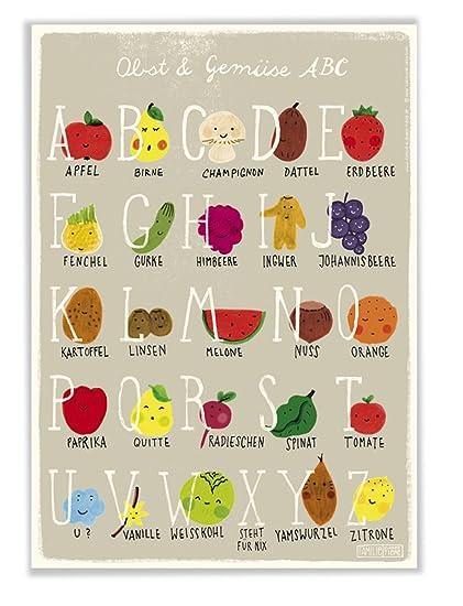 Poster mit ABC Alphabet Obst und Gemüse für Kinderzimmer und Küche ...