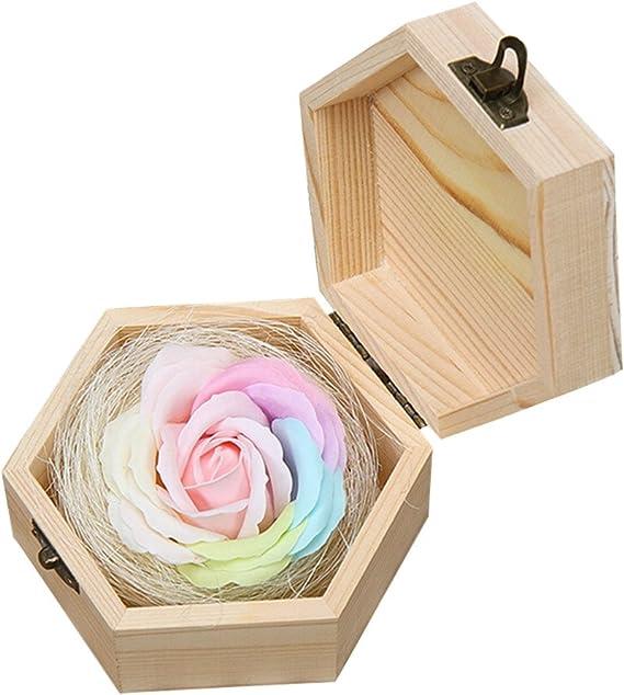 ZTL caja hexagonal de madera con hecho a mano preservar jabón flores, anillos collar pendientes joyas caja de almacenamiento Caja de regalo para el día de San Valentín, Día de la madre,