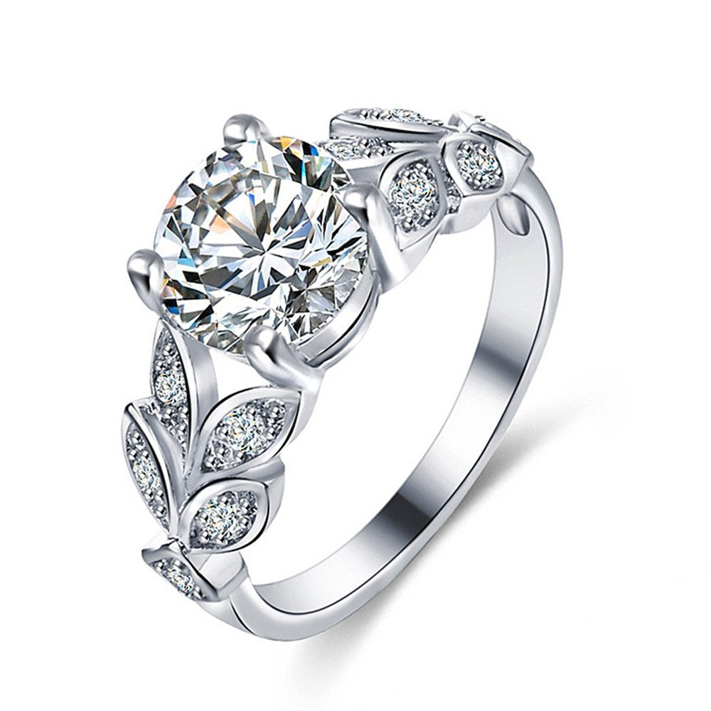 Keepfit_Rings Rings for Women,Keepfit Ladies Elegant 4-Prong Set Zircon Ring(Silver,9)