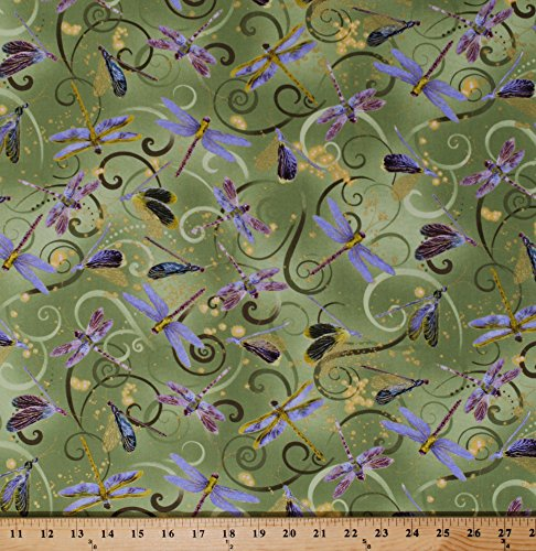 Cotton Dance of The Dragonfly Purple Dragonflies Insects on Green Magical Swirls Gold Metallic Shimmer Dancing Dragonflies Celedon Cotton Fabric Print by The Yard (8498M-44)