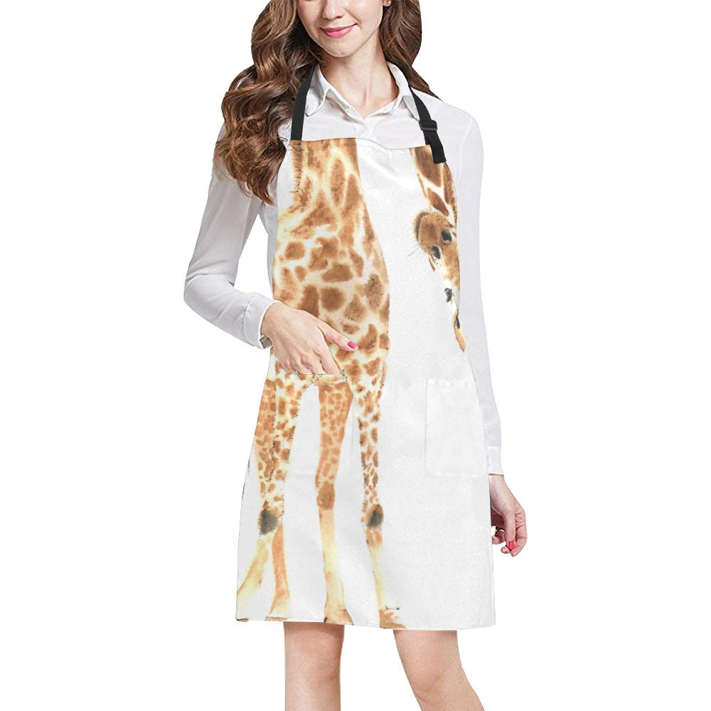 InterestPrint Funny Giraffes Realistic Animal All Over Print Adjustable Bib Apron with Pockets - Commercial Restaurant and Home Kitchen Apron for Women Men, Plus Size