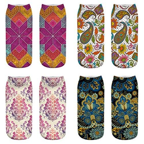 YJYdada Cute Casual Cotton Socks 3D Retro Printing Medium Socks Socks Sports Socks