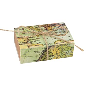 World Map Gift Bags.Aerwo 50pcs Party Favor Gift Bag World Map Printed Kraft Candy