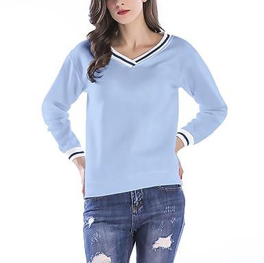 Mujer Sudaderas Otoño Invierno Basicas Hipster Manga Larga V Cuello Color Sólido Camisetas Elegantes Deportivas Casual Pullover Sweatshirts Tops Chica: ...