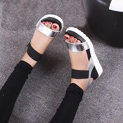 Jamicy® Sandalen Frauen mit Absatz Sommer Sandalen Roman Schuhe Peep-Toe Low Schuhe Sandalen PU EU 35-40 Silber Schwarz Weiß Silber