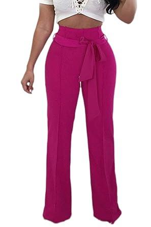c7d6bdd01e32f Femme Pantalon Femme Elégante Uni Manche Taille Haute Pantalons Palazzo  Wide Leg Pants Long Slim Fit